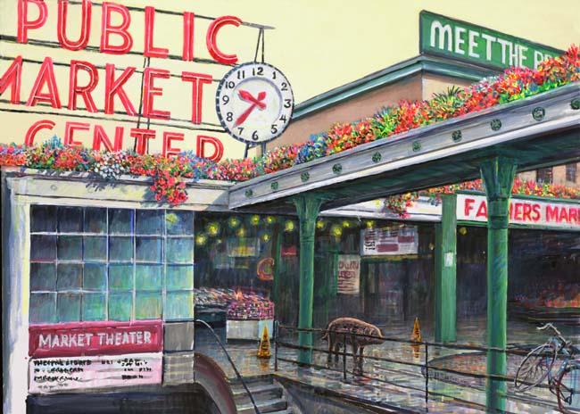 Pike Place Marke painting by Ed Newbold