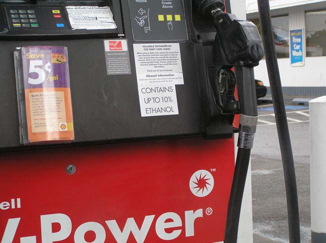 gasoline pump with ethanol warning