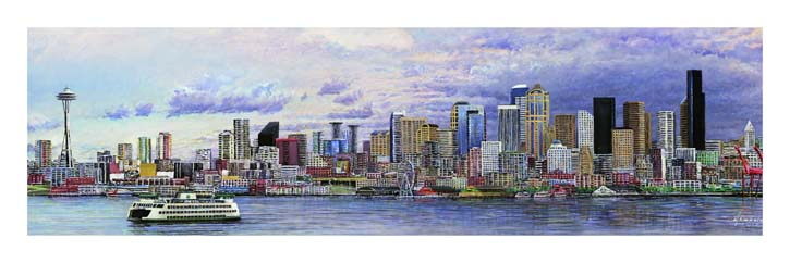 #483 Seattle from the Bay (medium Skinny)