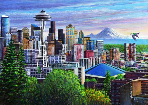 #478 Seattle (18 x 24) (Horizontal) (with Violet-green Swallows)