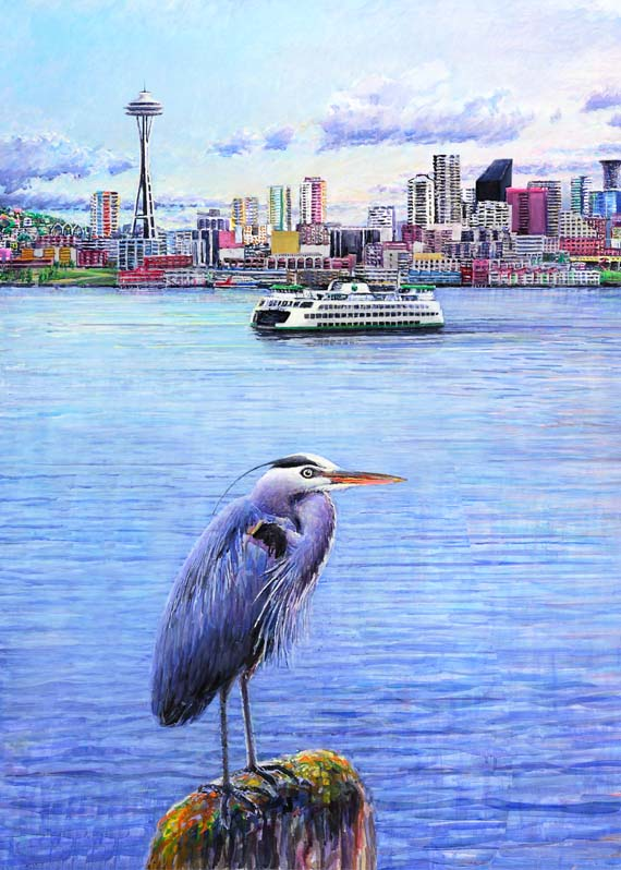 "#428 Seattle (Heron Ferry Needle) 12 x 16"" (vertical)"