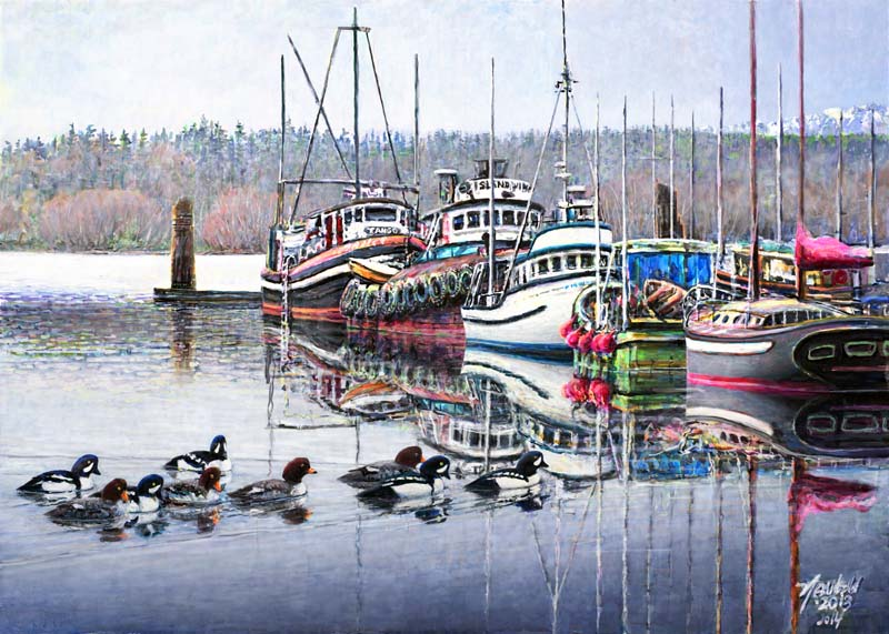 #439 Winter Goldeneyes, Poulsbo (12 x 16)