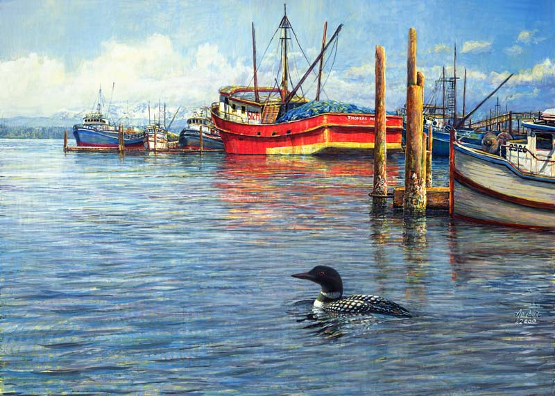 #440 Common Loon at Westport (12 x 16)